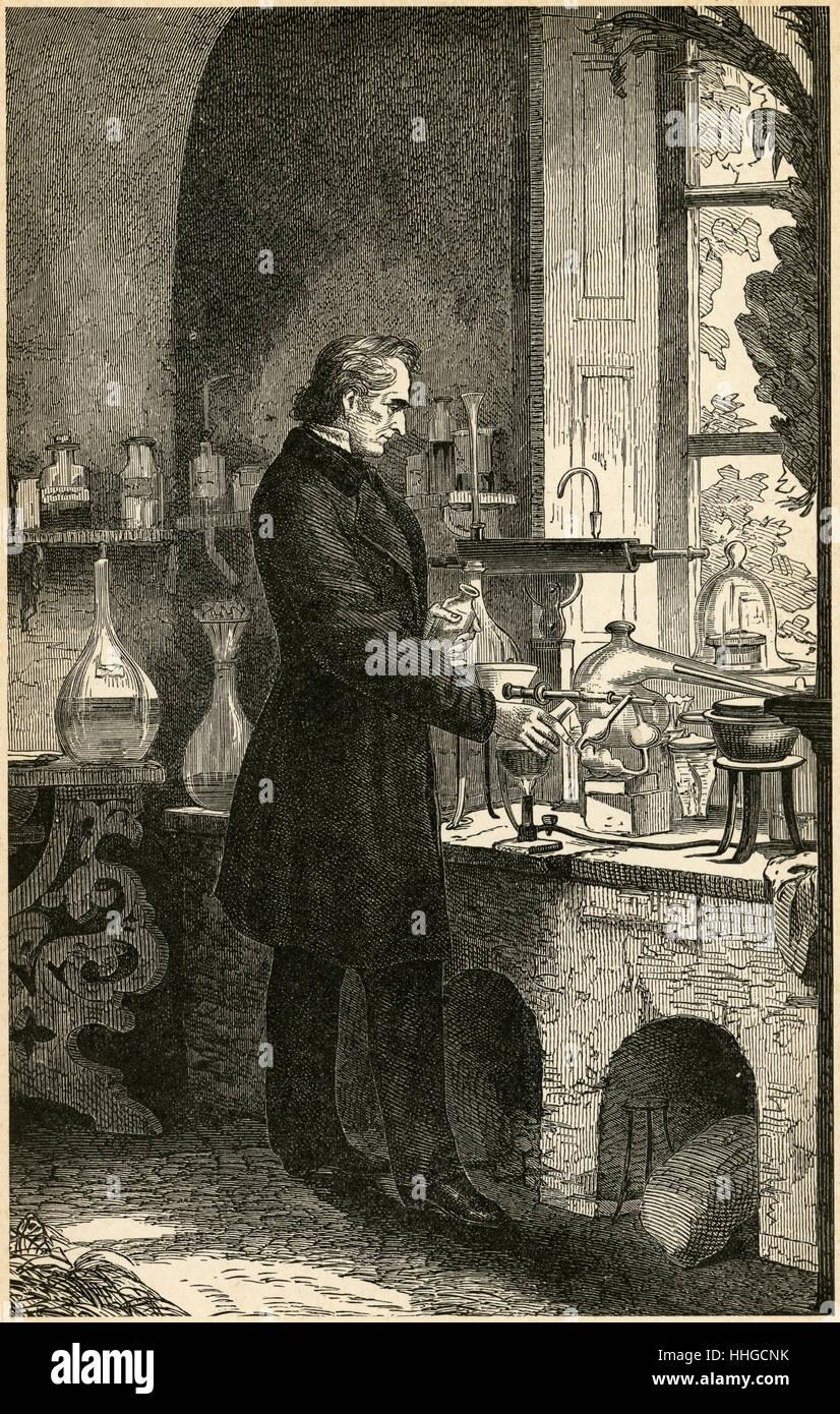 Antique c1890 engraving, The Chemist. SOURCE: ORIGINAL ENGRAVING. - Stock Image