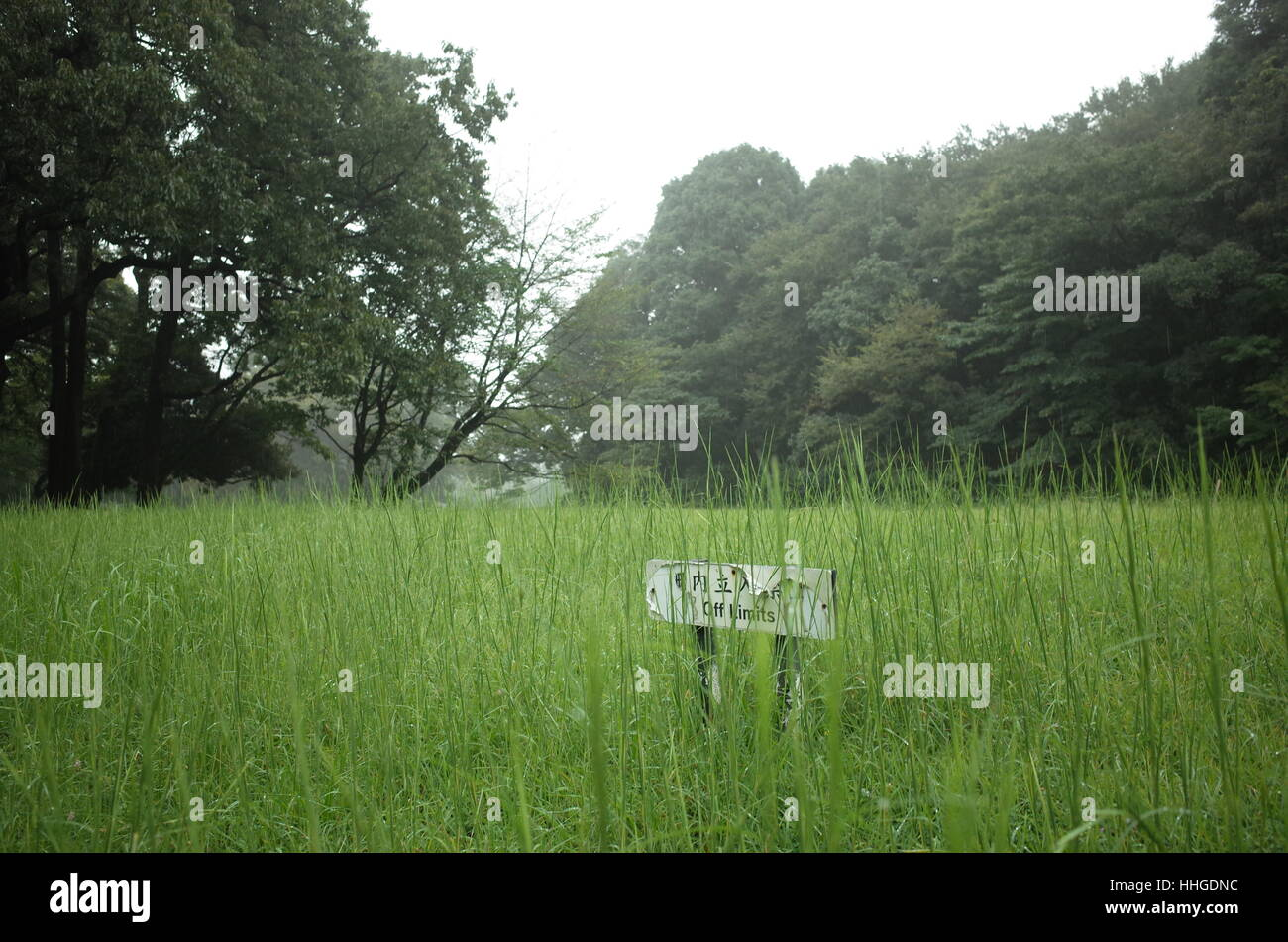 Over-grown grassy landscape in park with deteriorated sign that reads 'Off Limits' in Japanese and English. - Stock Image