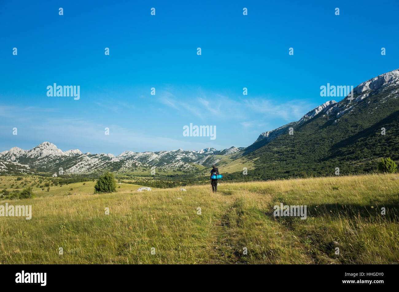 Hiking In Paklenica Velebit Mountains In Croatia. Beautiful nature and landscape photo. Nice warm summer day. Calm, Stock Photo