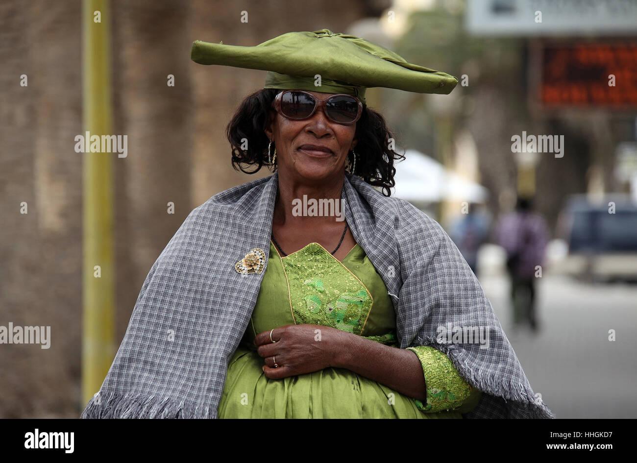 Herero woman at Swakopmund in Namibia Stock Photo