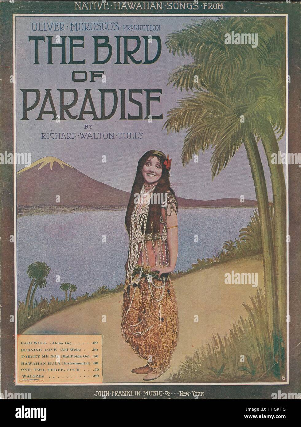 ''The Bird of Paradise' 1912 Musical Sheet Music Cover - Stock Image