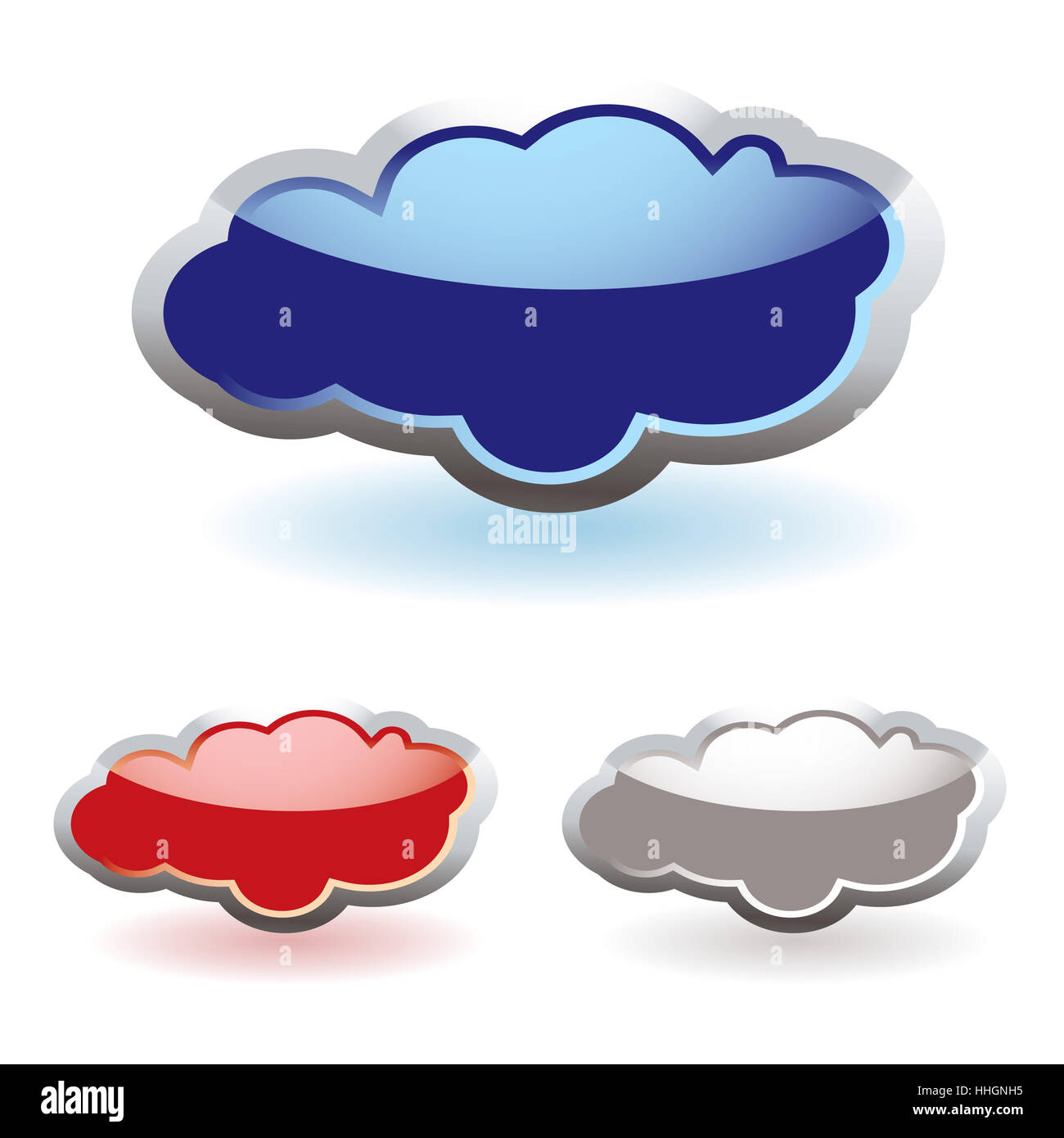Glass fluffy colored clouds with shadow icon - Stock Image