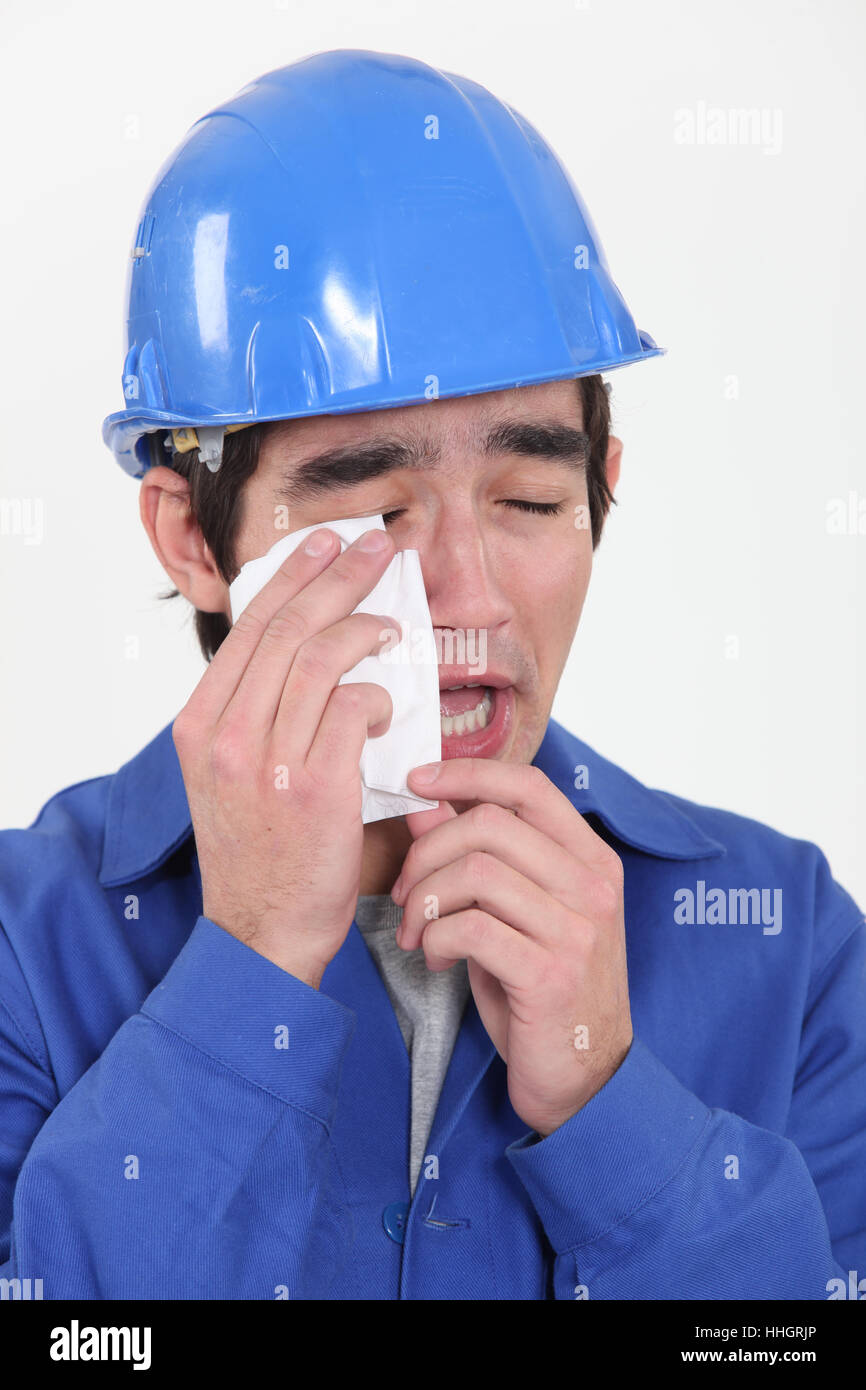 blank, european, caucasian, bushy, weep, cry, crying, weeper, weeping, - Stock Image