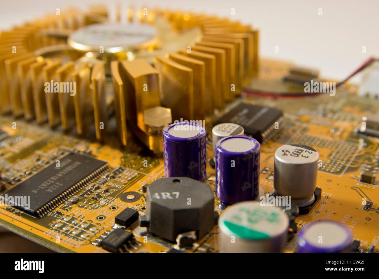 Printed Circuit Board Capacitor Resistors Graphics Card Graphic
