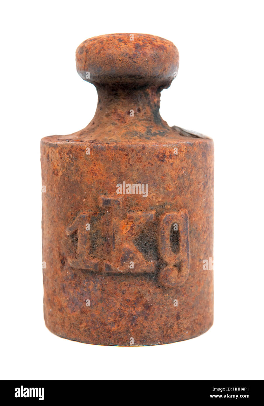 rusty, rust, one, weight, kilogram, old, isolated, studio photography, brown, - Stock Image