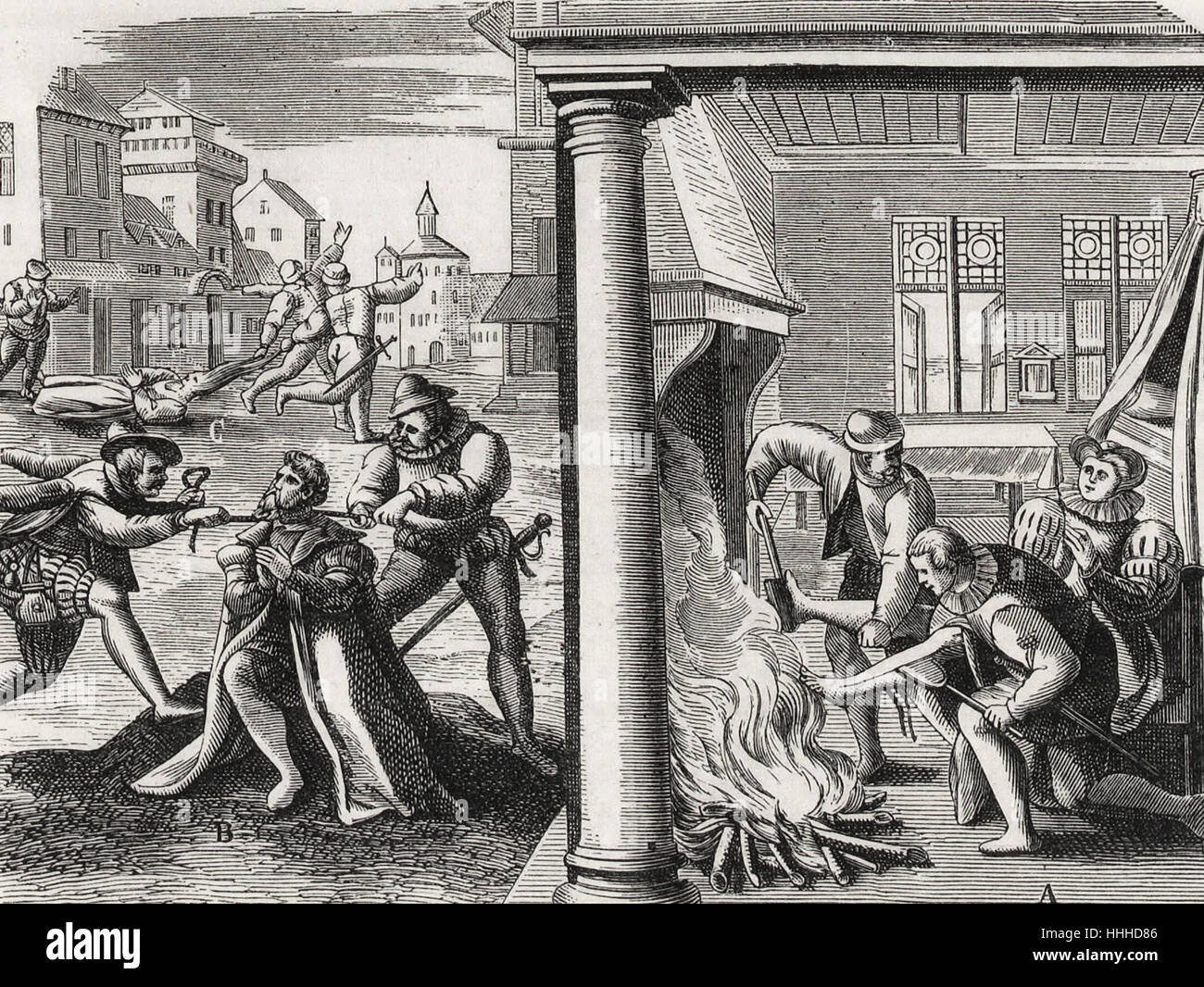 Violence of the French Hugenots against the Catholics - Stock Image
