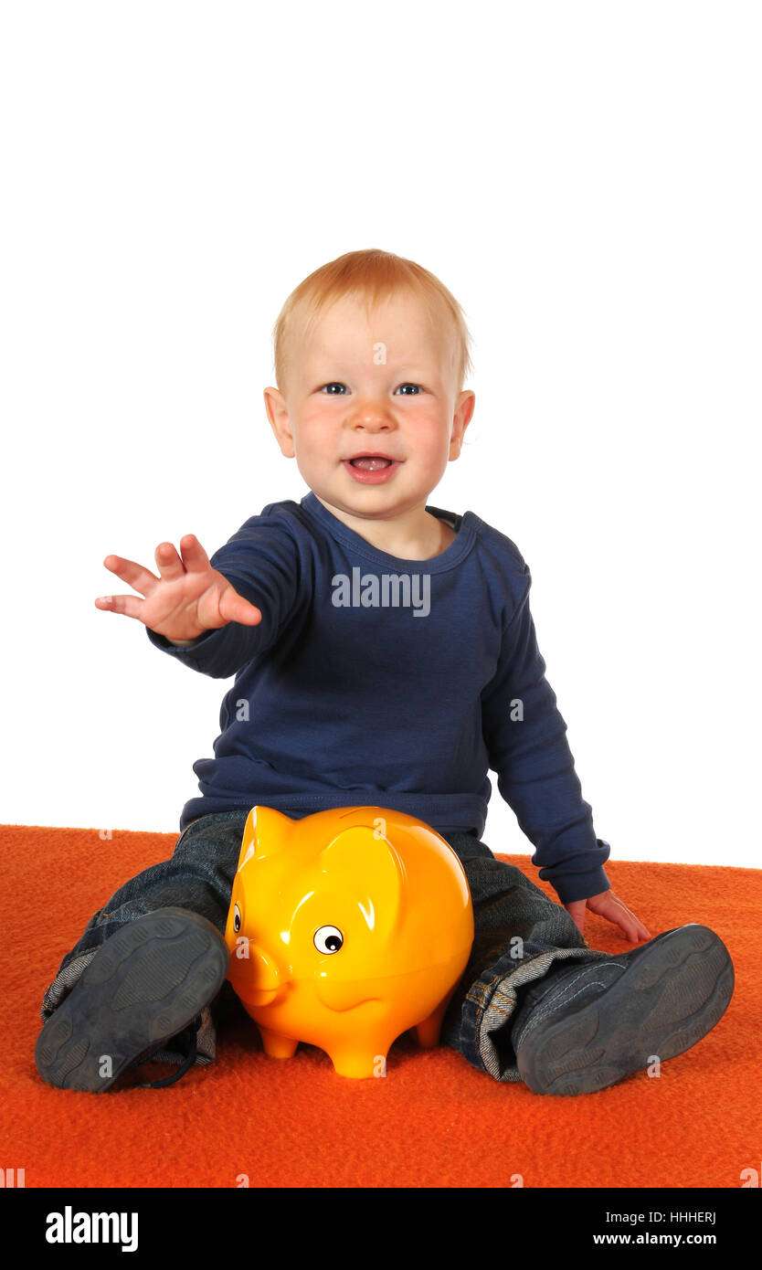 save, baby, piggybank, isolated, scrabble, crawling, save, baby, physiognomy, Stock Photo