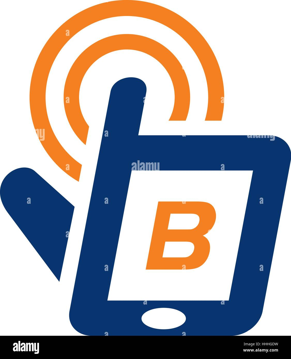 B Stock Solutions hand phone solutions center initial b stock vector art