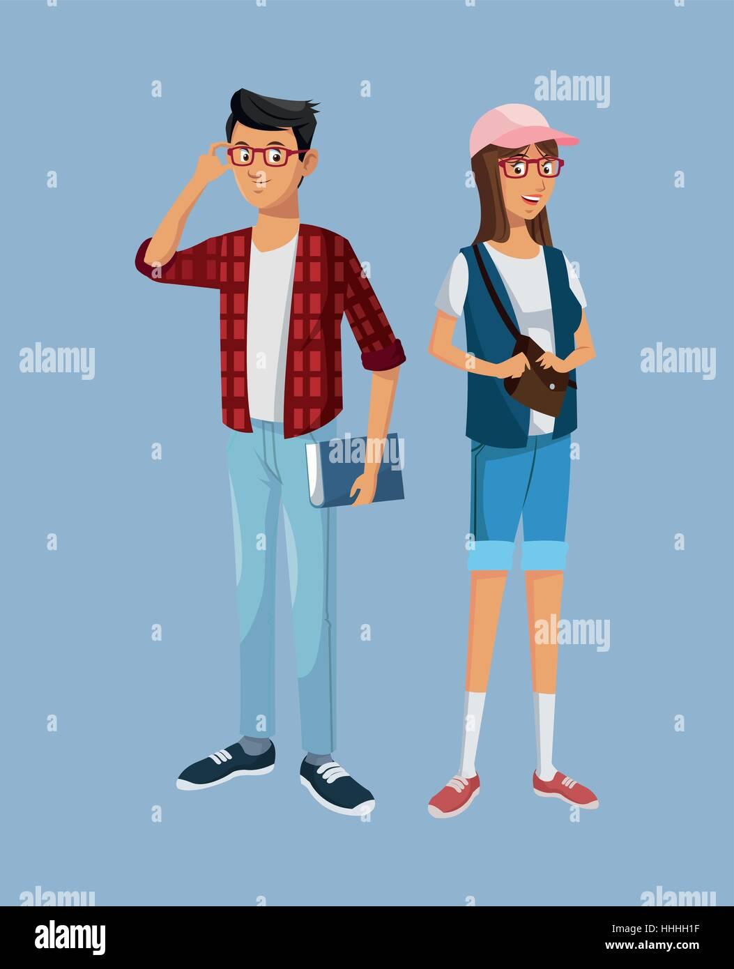 teens girl and boy students book glasses bag - Stock Vector