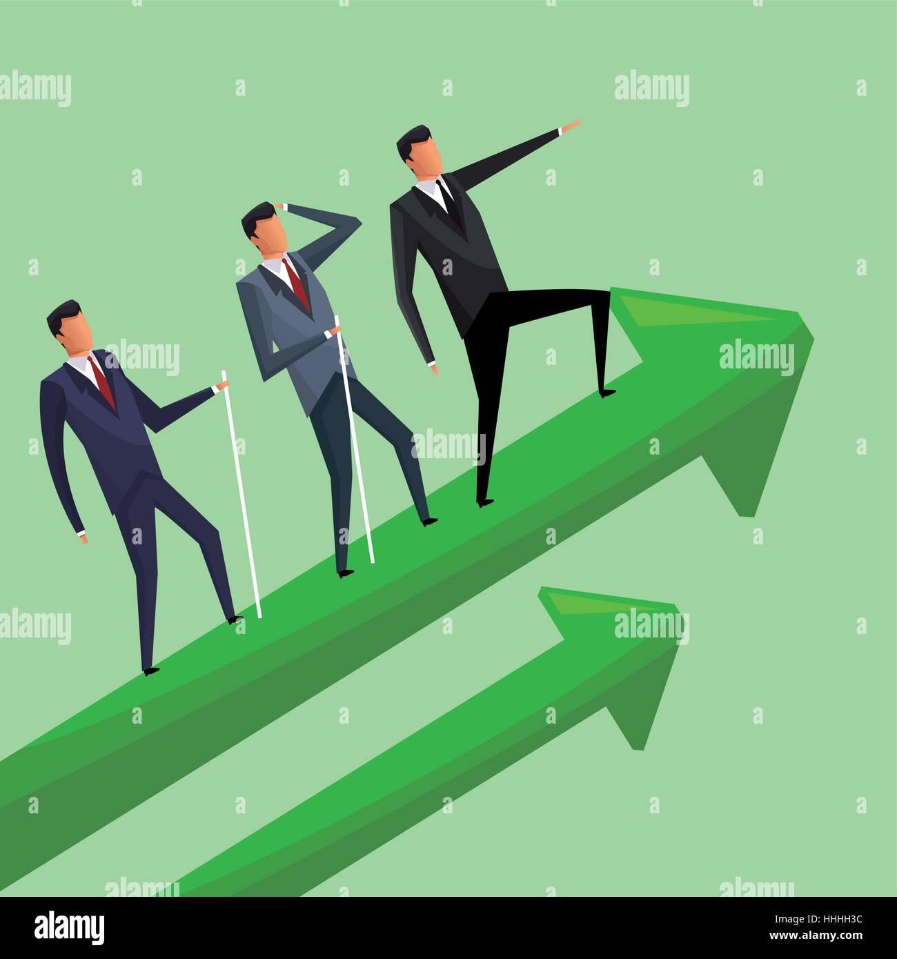 business men climbing growth arrows cooperation - Stock Image