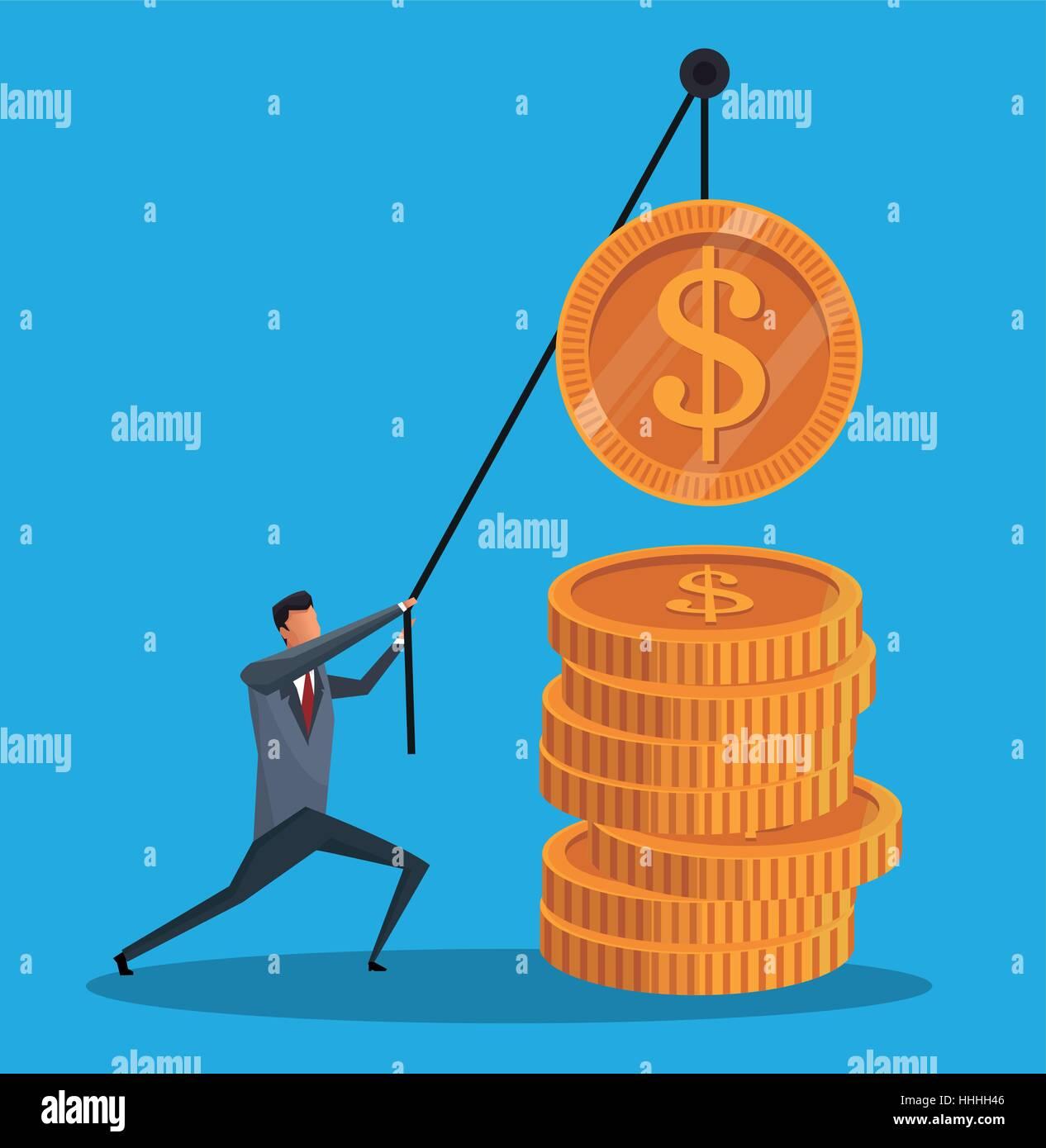 man financial business money gold work - Stock Image