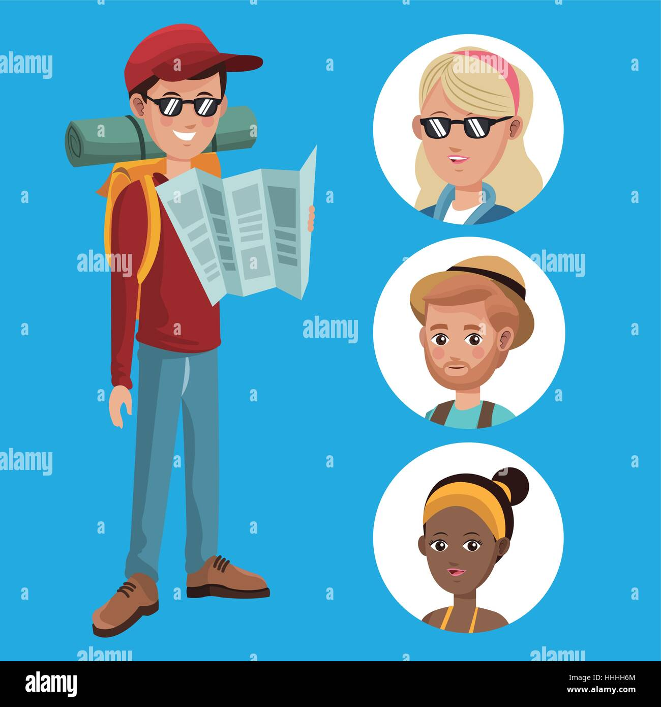 boy tourist read map guide with group girls - Stock Vector