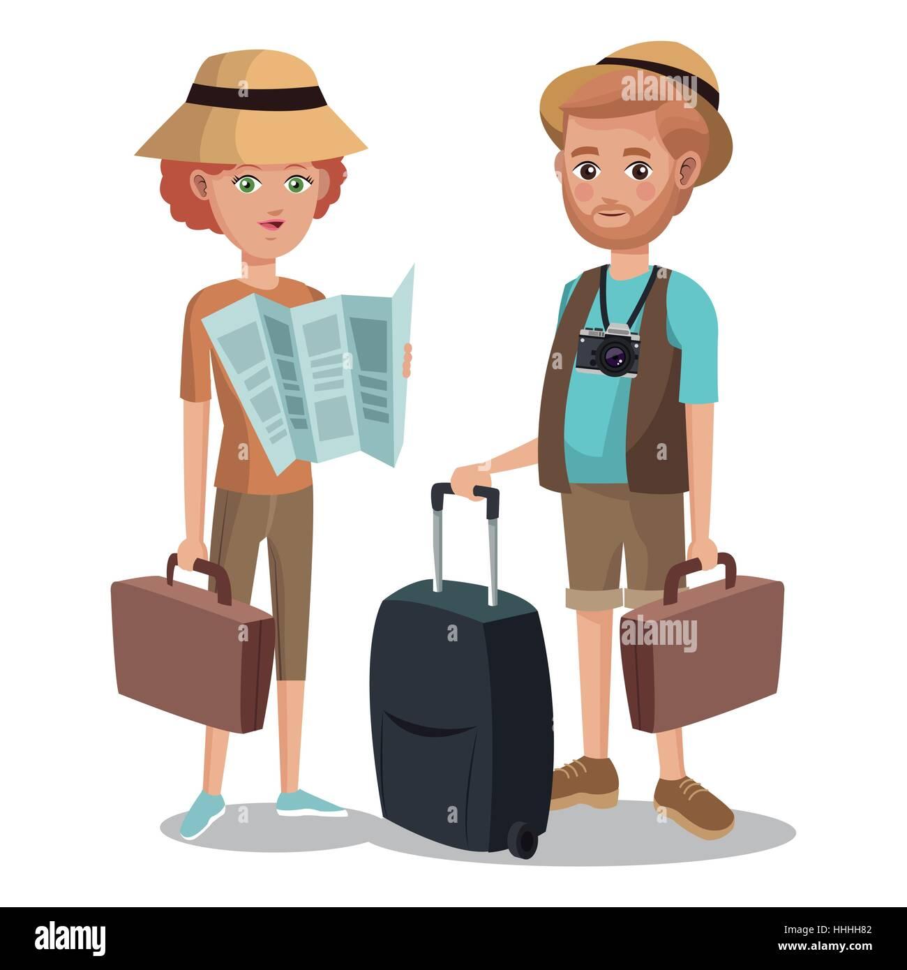 travel couple tourist vacation bag map - Stock Image