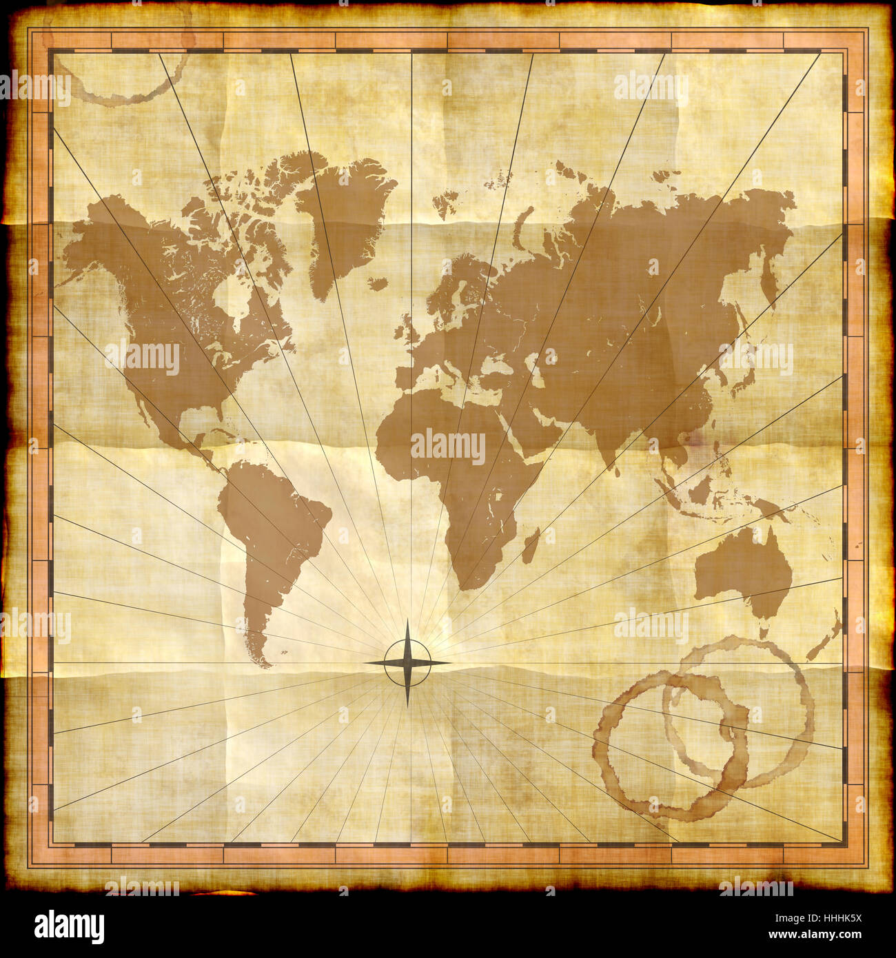 Square Earth Map.Antique Document Globe Planet Earth World Map Atlas Map Of