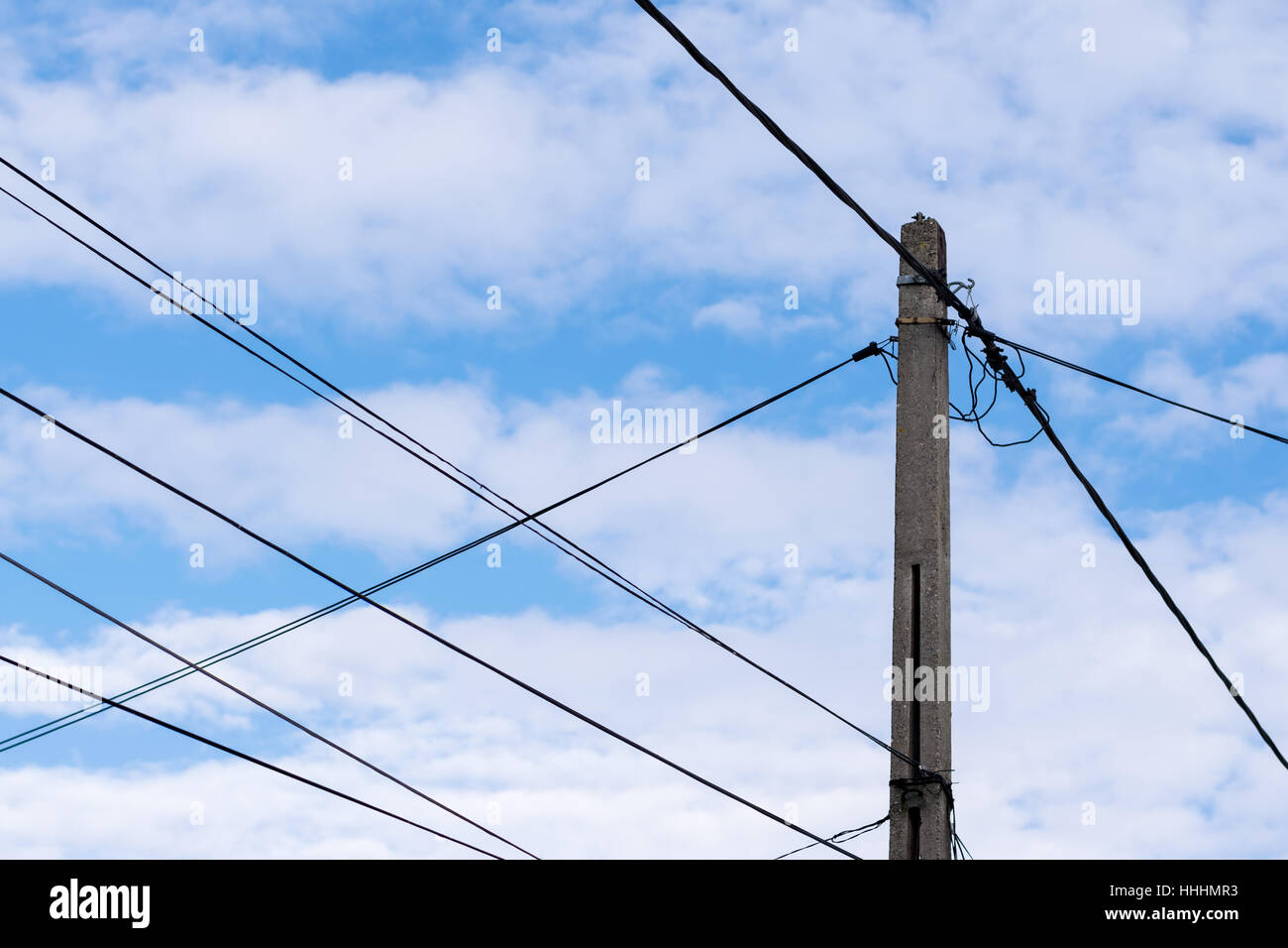 electricity post for house power supply with sky background Stock ...