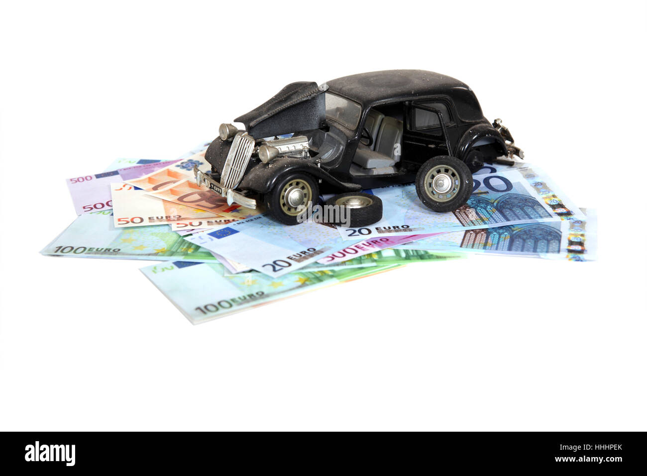 antique, car, automobile, vehicle, means of travel, motor vehicle, accident, - Stock Image