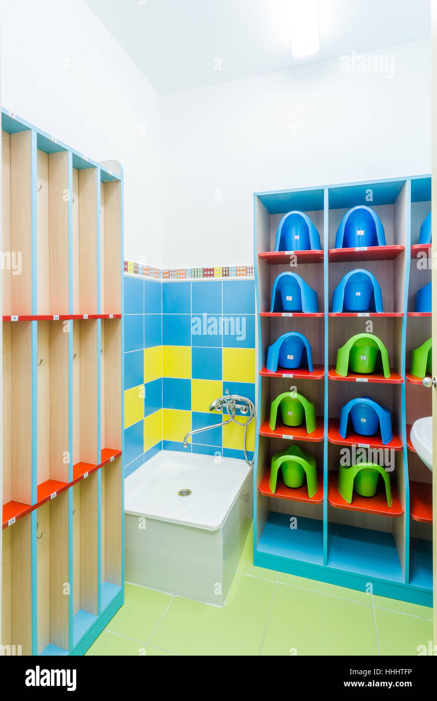 Clean individual children\'s potties and towels in kindergarten Stock ...
