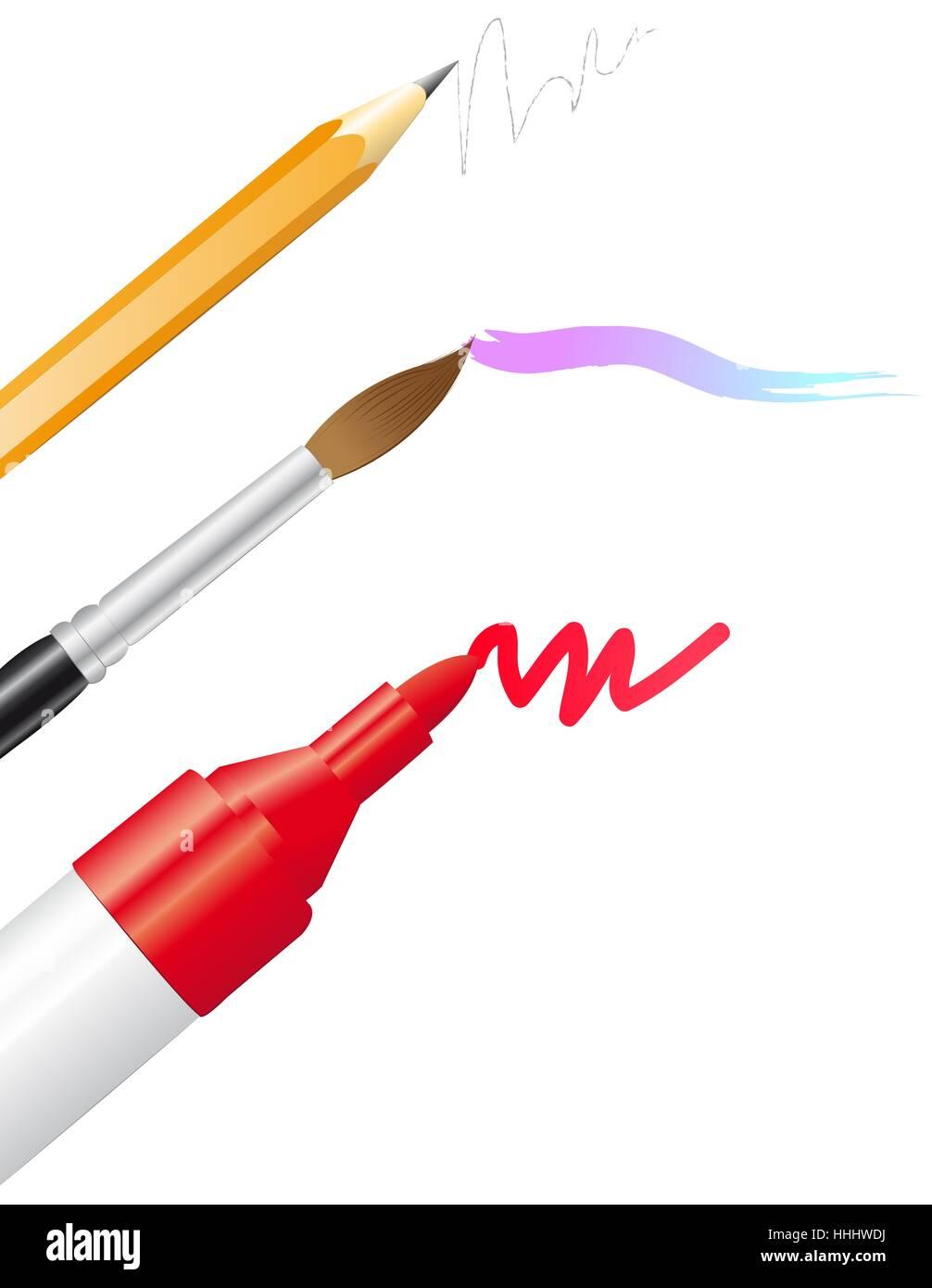 Mark Pencil Pen Style Paint Letter Draw Marker Paintbrush Brush Blue