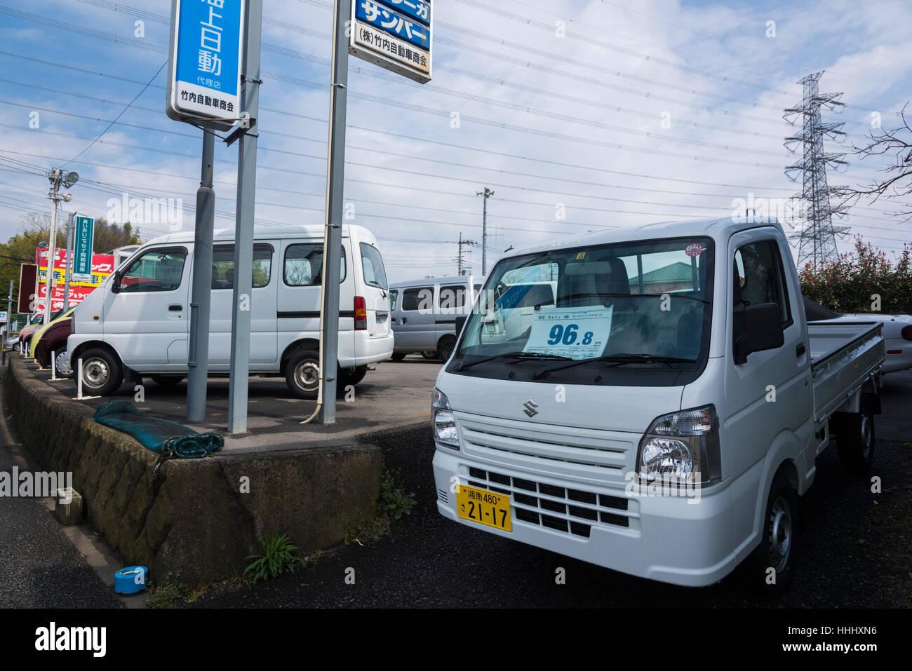 Used Car Shop, Isehara City, Kanagawa Prefecture, Japan - Stock Image