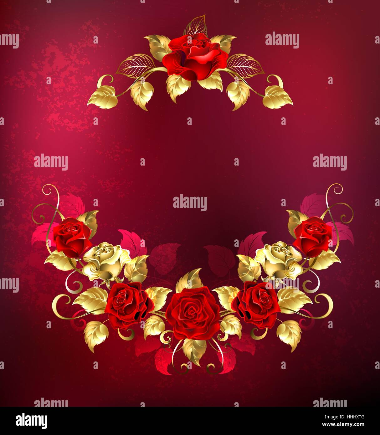 symmetrical garland of gold jewelry and passionate red roses on a