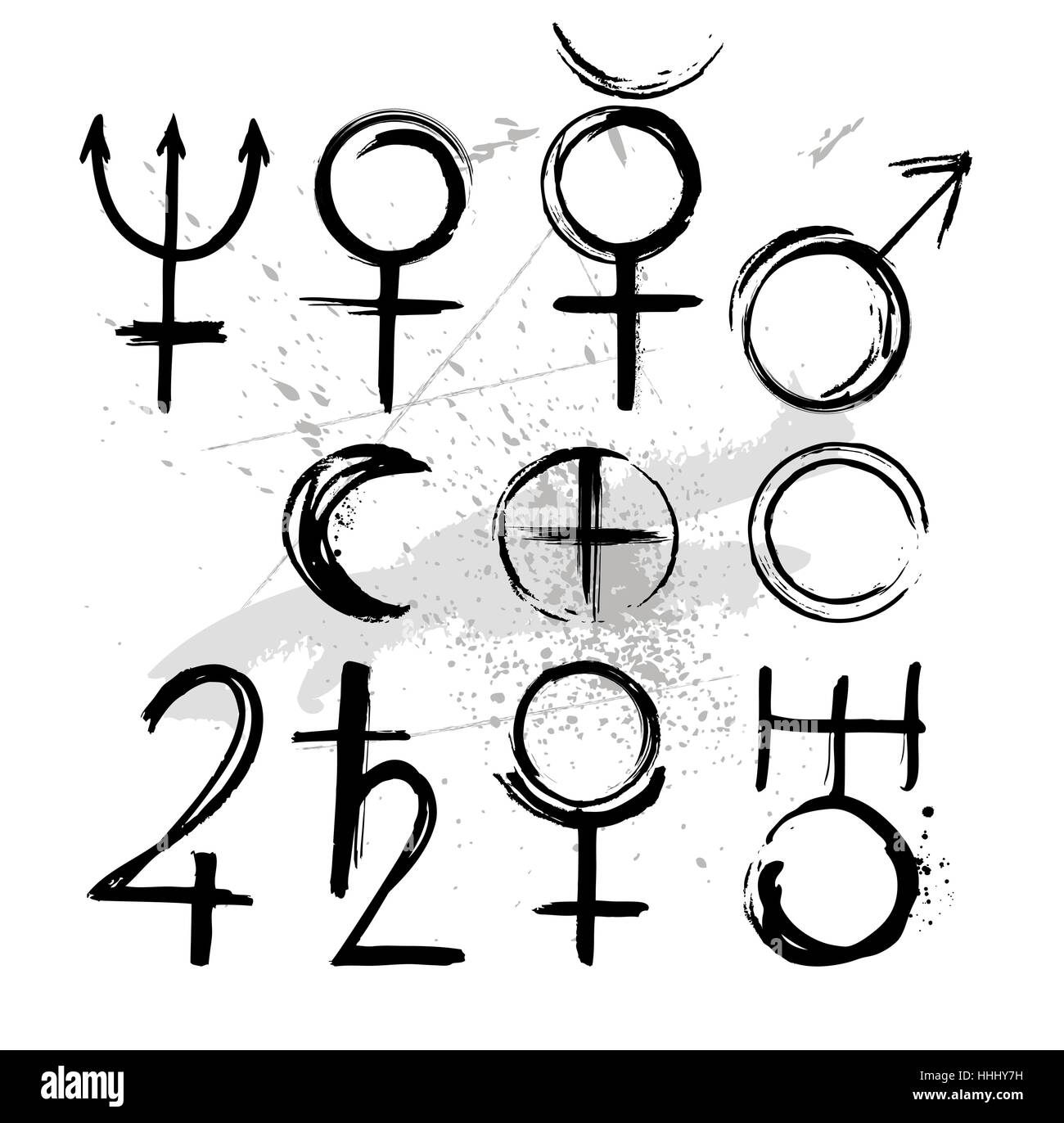 Symbols Of The Planets Of Solar System Mercury Venus Earth Moon