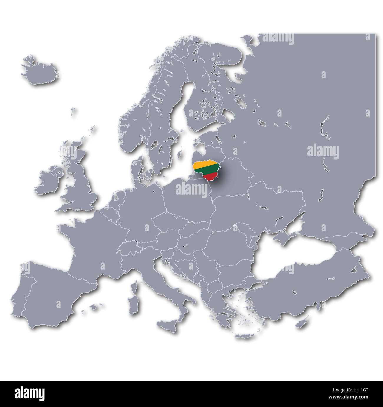 europe map lithuania Stock Photo