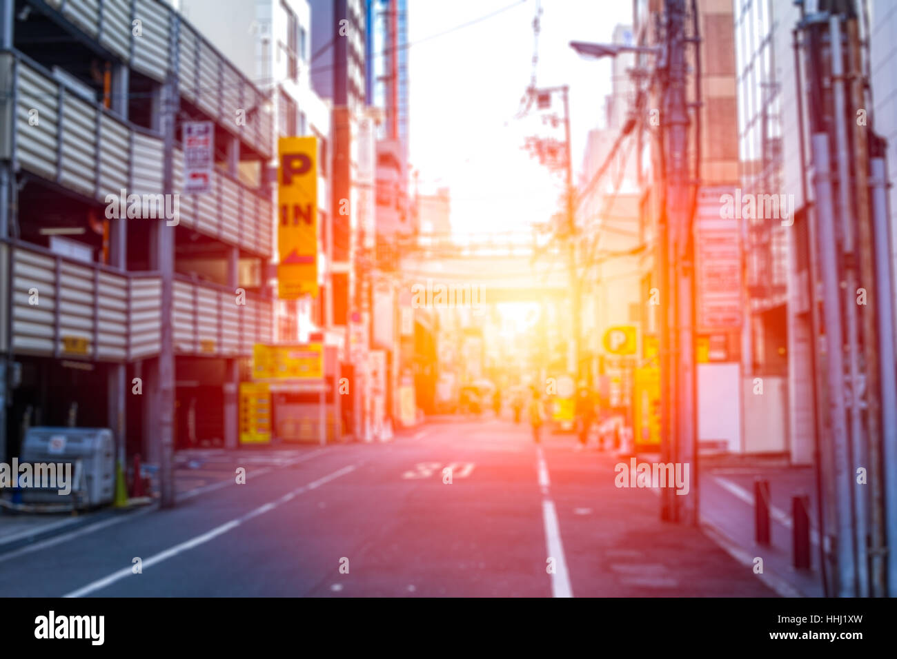 blur japan metro Kyoto city in the morning for background. Stock Photo