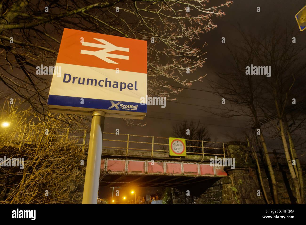 drumchapel  railway station scotrail at night in the dark - Stock Image