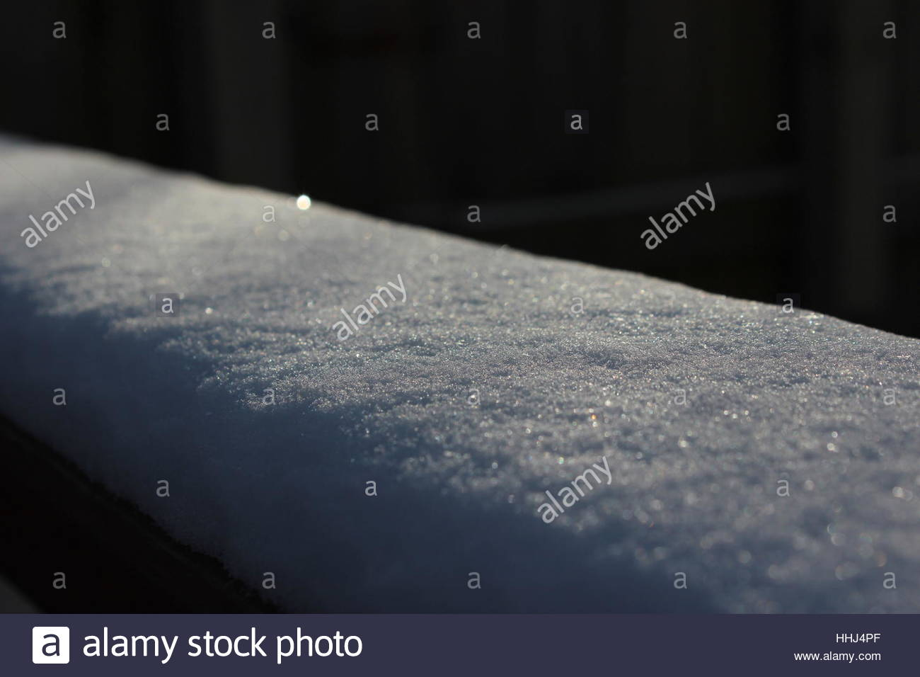 Blanket of snow glistening in Winter sunshine - Stock Image