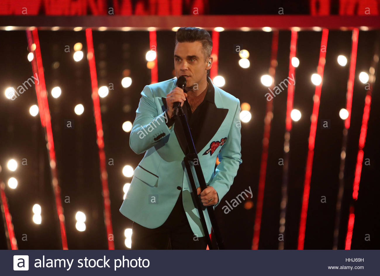 File photo dated 18/12/16 of Robbie Williams, who will perform at this year's Brit Awards, organisers have announced. - Stock Image