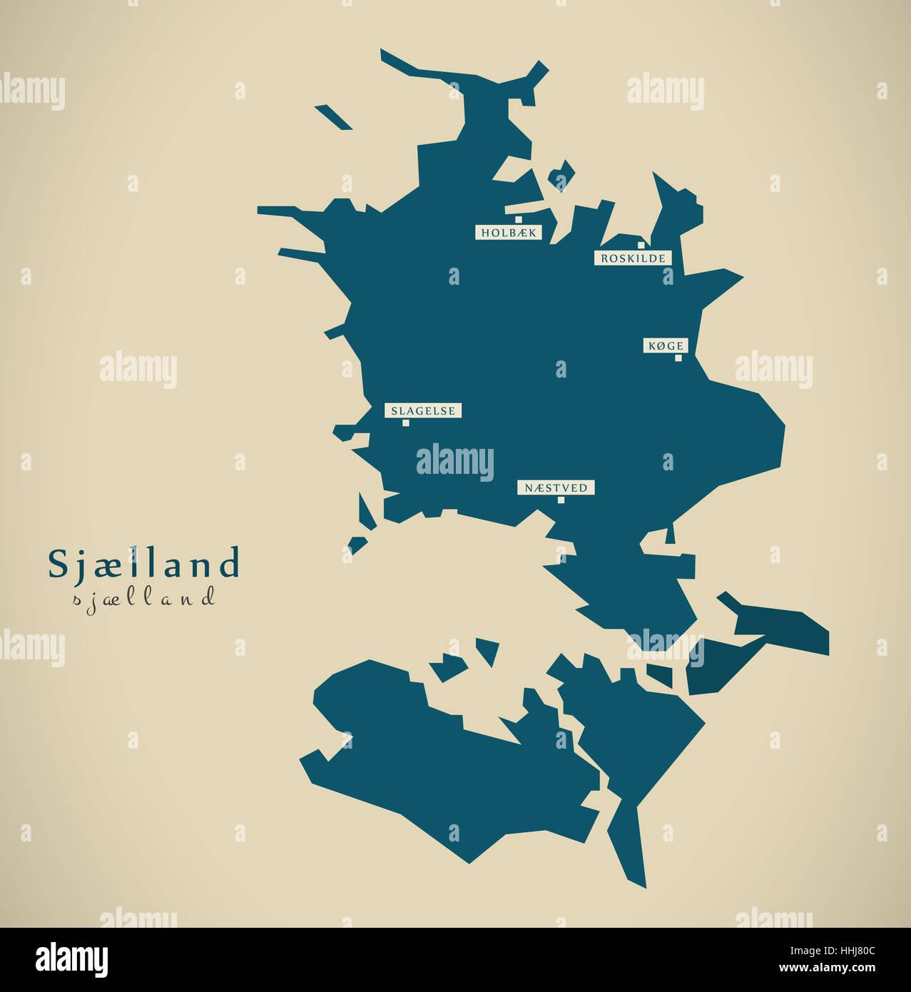 Modern Map - Sjaelland Denmark DK illustration - Stock Image