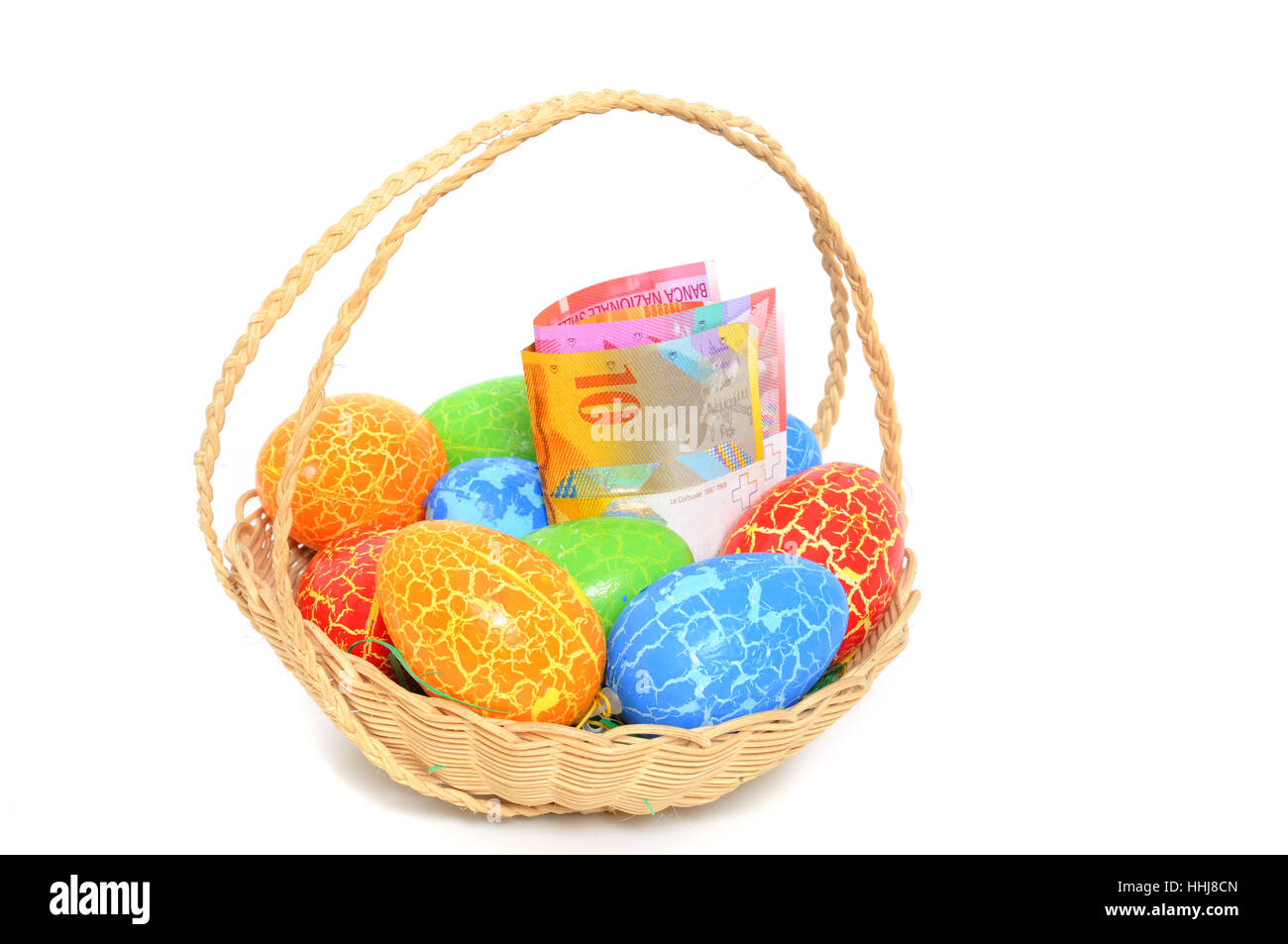 Easter eggs swiss money francs studio photography basket stock easter eggs swiss money francs studio photography basket easter gift negle Images