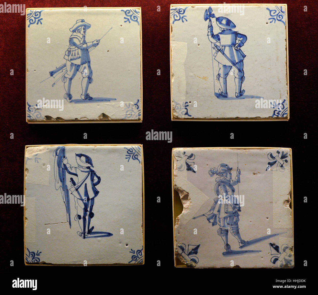 Tiles depicting soldiers. Netherlands. 17th century. History Museum. Gdansk. Poland. - Stock Image