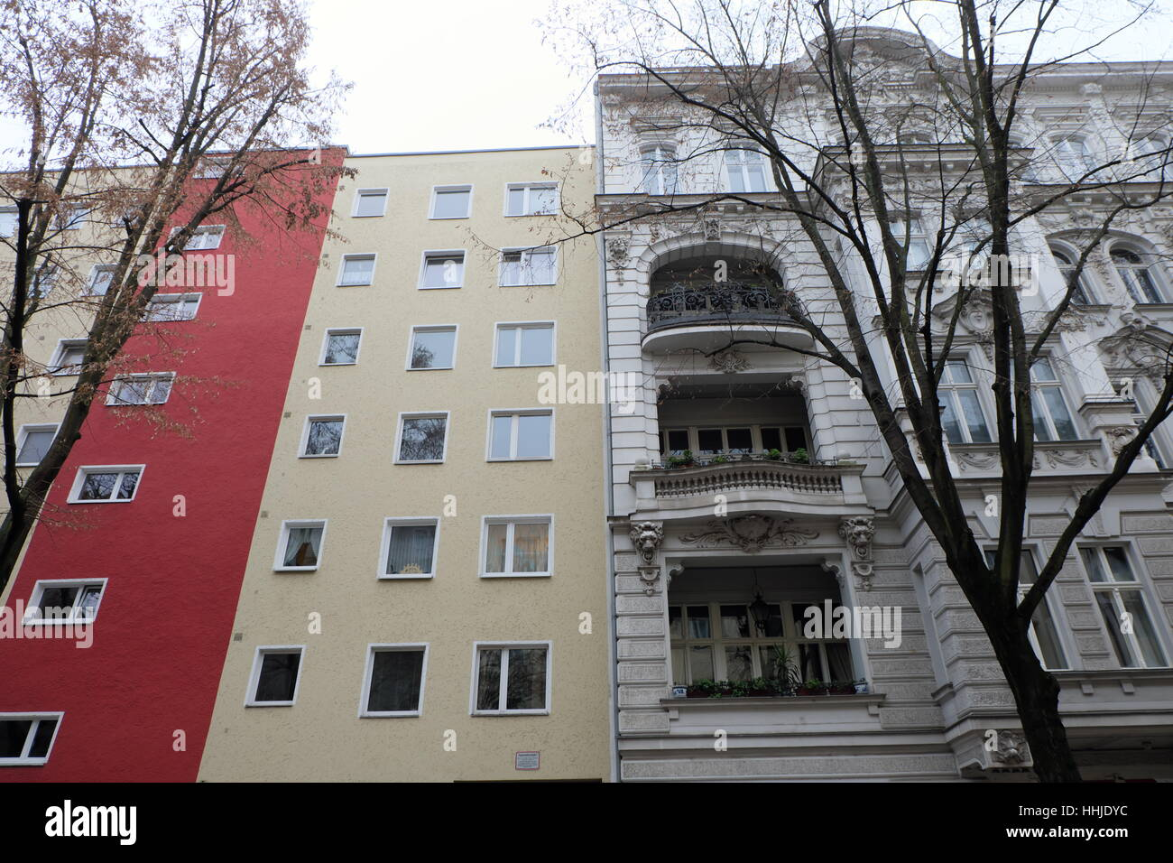 Altbau - Neubau Berlin: New and Old Build as post war reconstruction. Nolendorfstrasse, Schoneburg Stock Photo