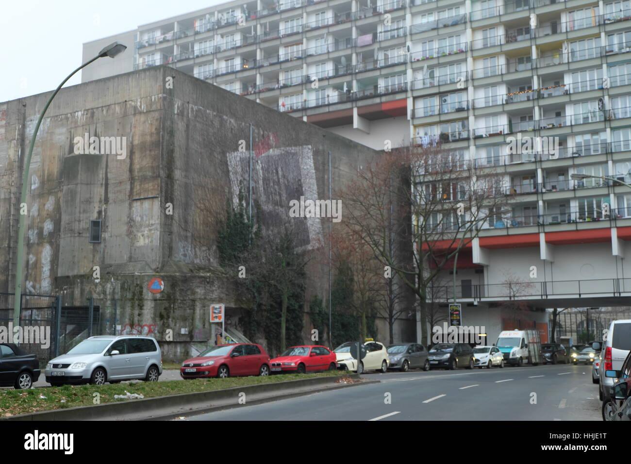 Indestructable wartime air raid bunker built on for social housing in Pallasstrasse, Berlin, Schoneburg. Stock Photo