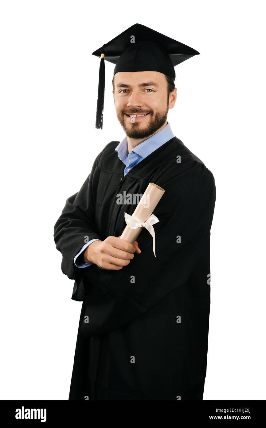 happy smiling male graduate with diploma isolated on white - Stock Image