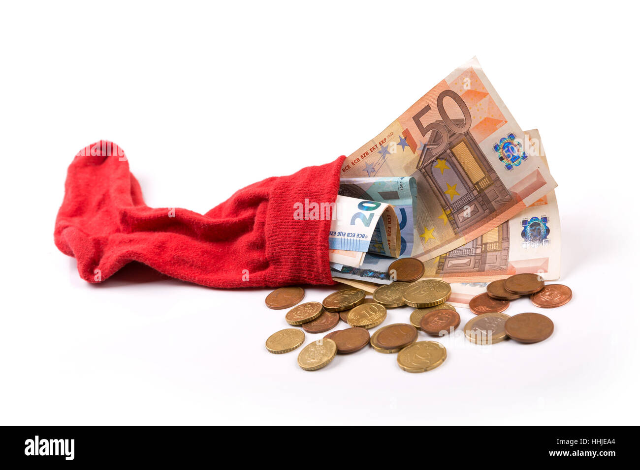 retirement savings concept - euro money in the sock - Stock Image