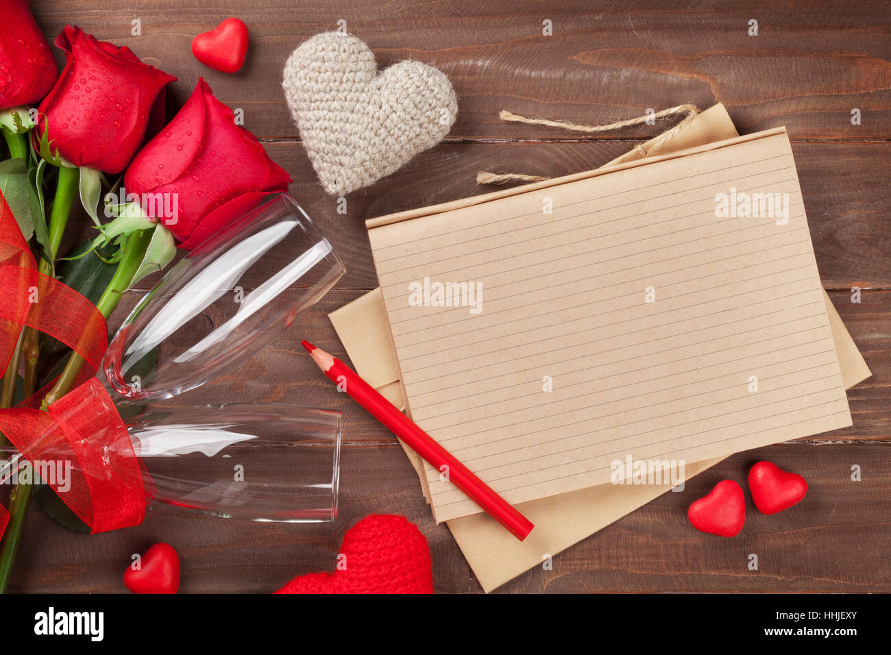 Valentines Day Letter Champagne And Red Roses On Wooden Table Top
