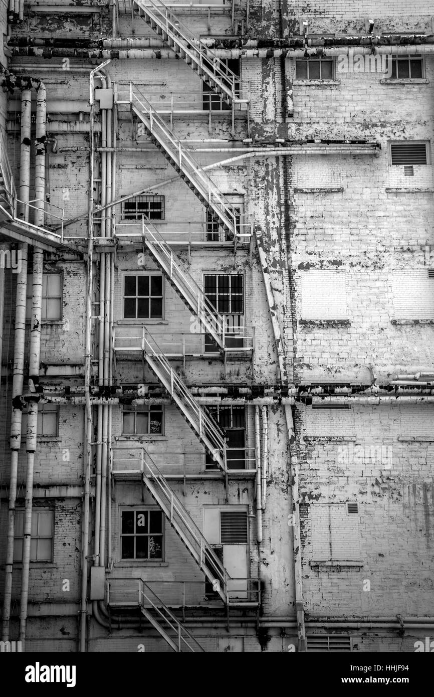 A fire escape on an old building in downtown El Paso, Texas. - Stock Image