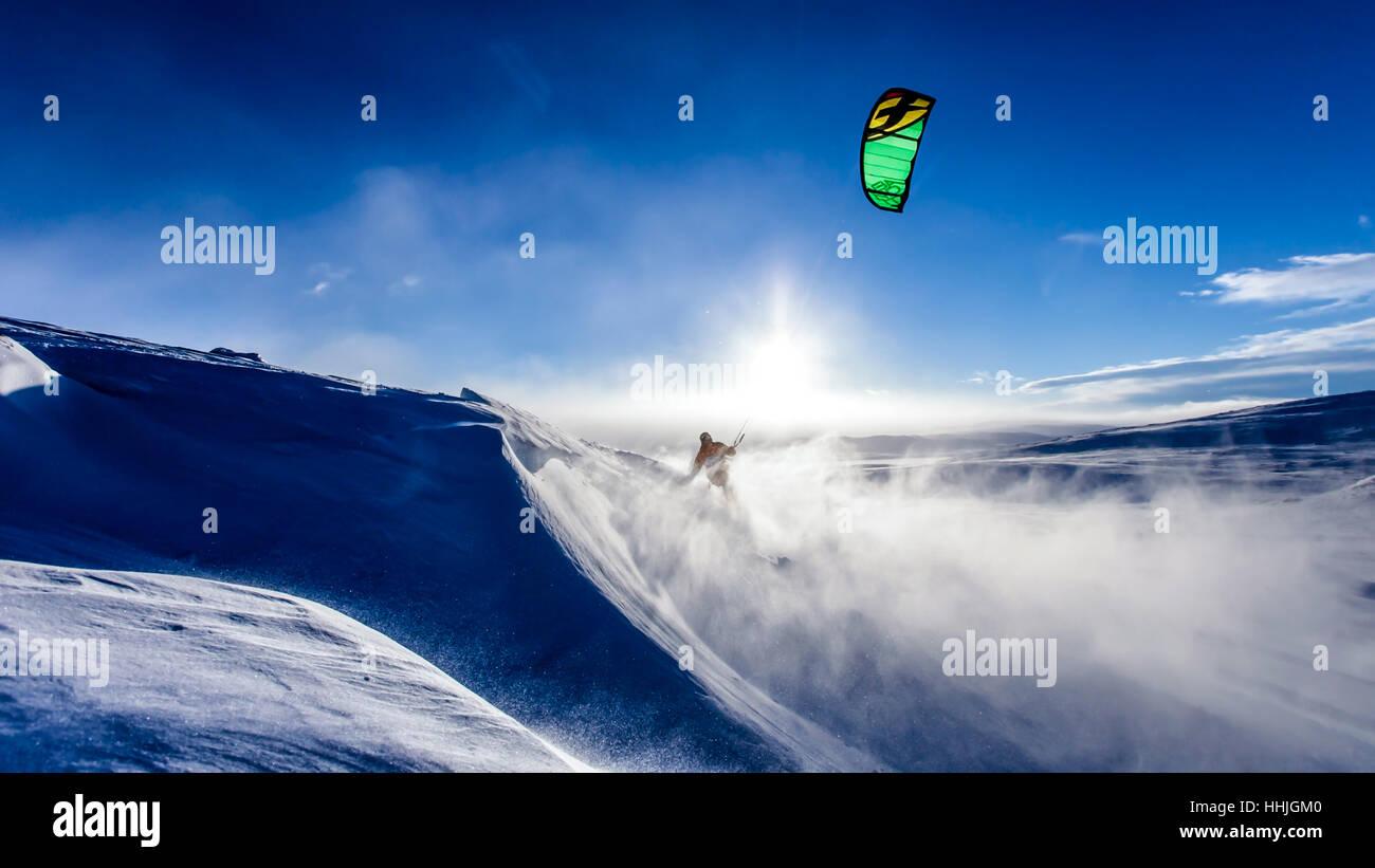 Ski in lot of snow - Stock Image