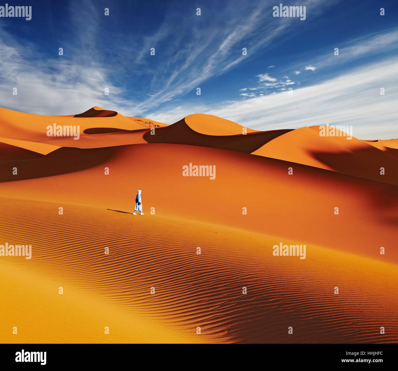 Sand dunes of Sahara Desert, Algeria - Stock Image
