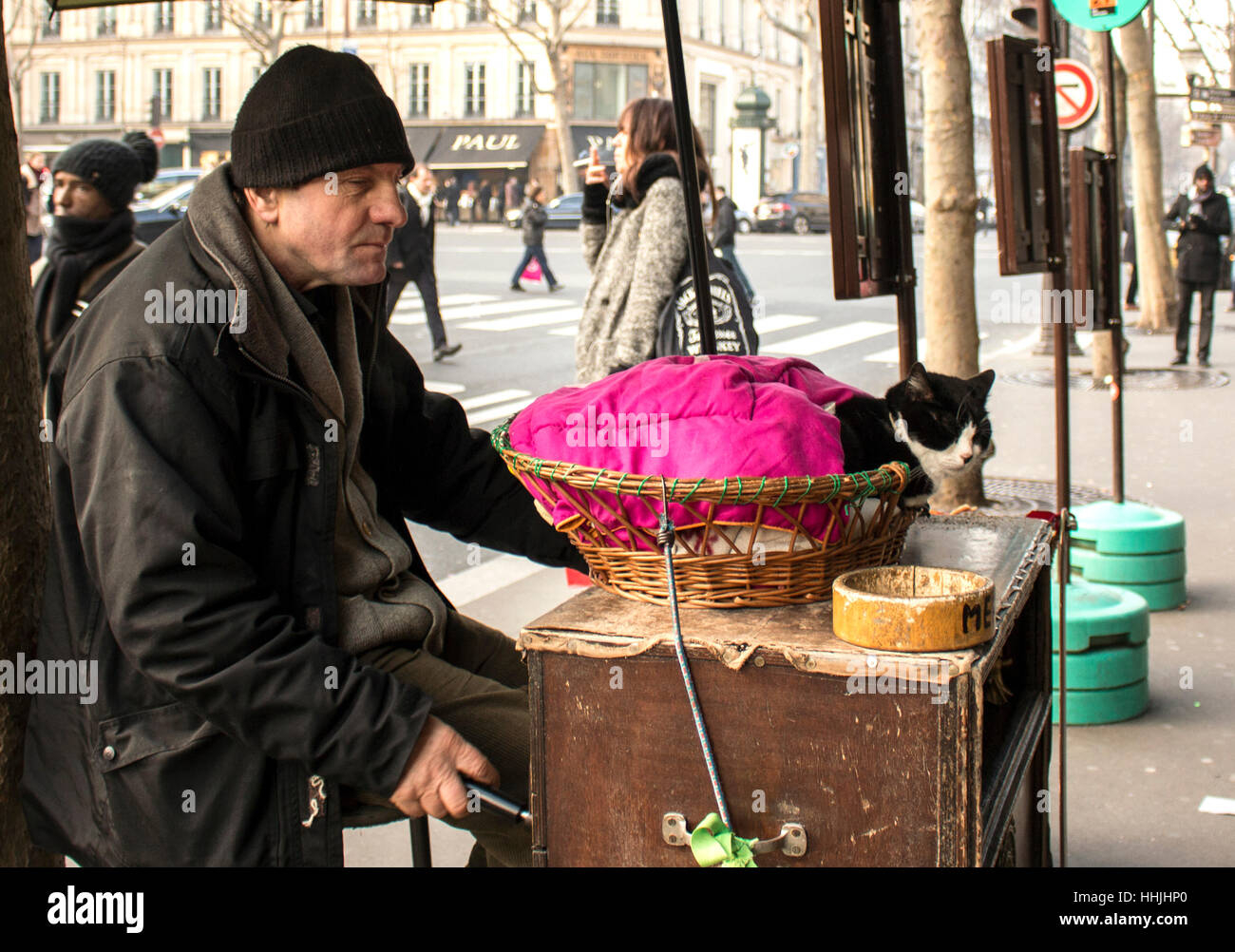 Man with a cat begging for money in Paris - Stock Image