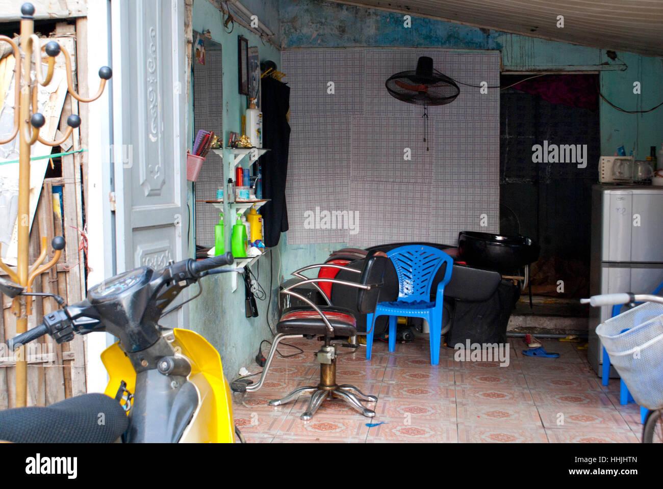 Hairdressing salon, Saigon, Vietnam - Stock Image