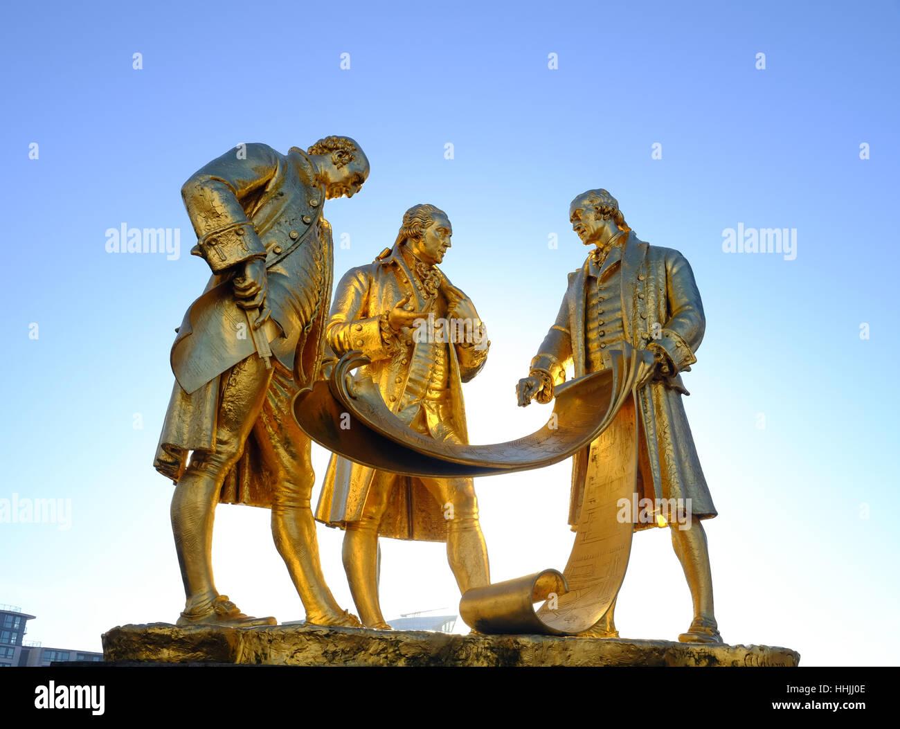 Boulton, Watt & Murdoch Statue, Broad Street, Birmingham - Stock Image