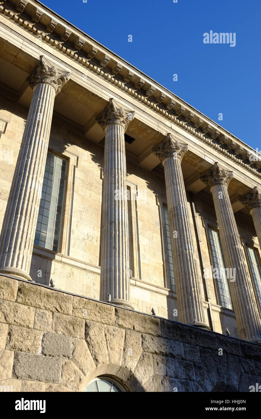 classical columns of Birmingham Town Hall, UK - Stock Image