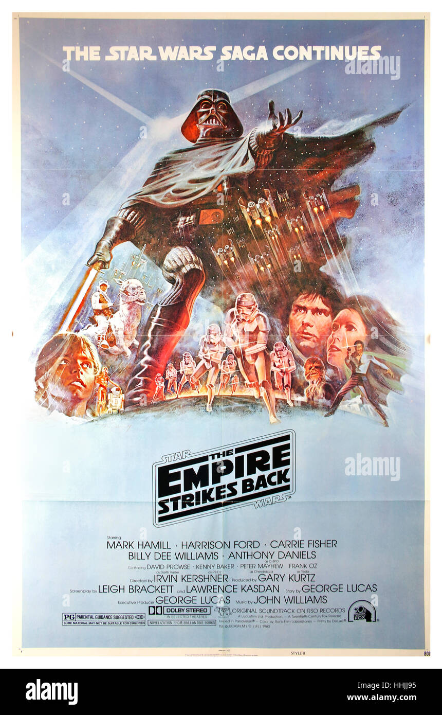 The Empire Strikes Back film Poster 1980 Episode 5 The Star Wars Saga continues - Stock Image