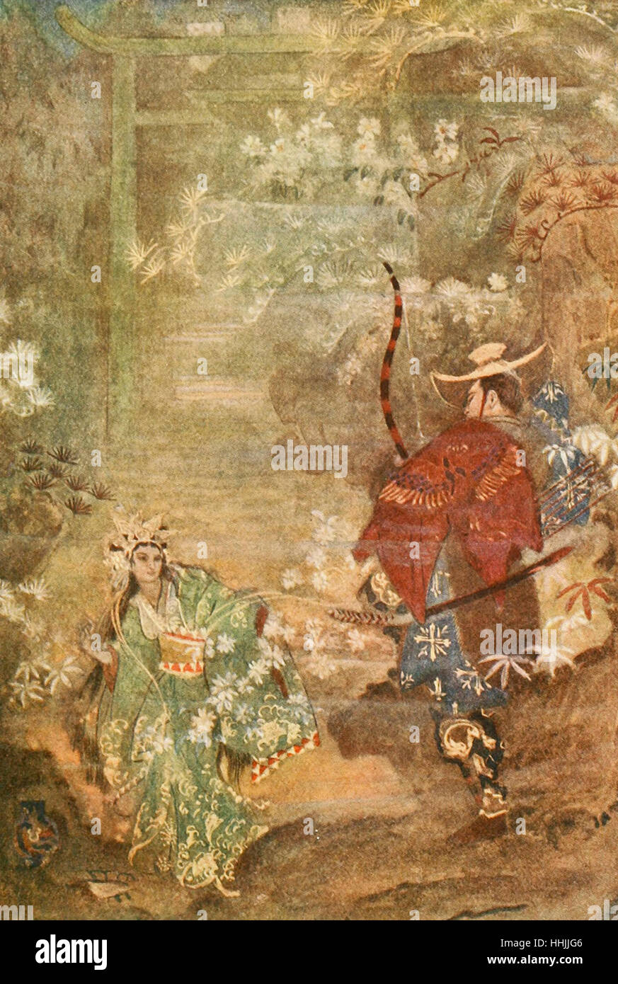 Hoori and the Sea God's Daughter, Japanese Mythology - Stock Image