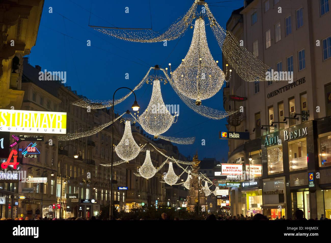 christmas illumination, graben, 1010 vienna, austria - Stock Image