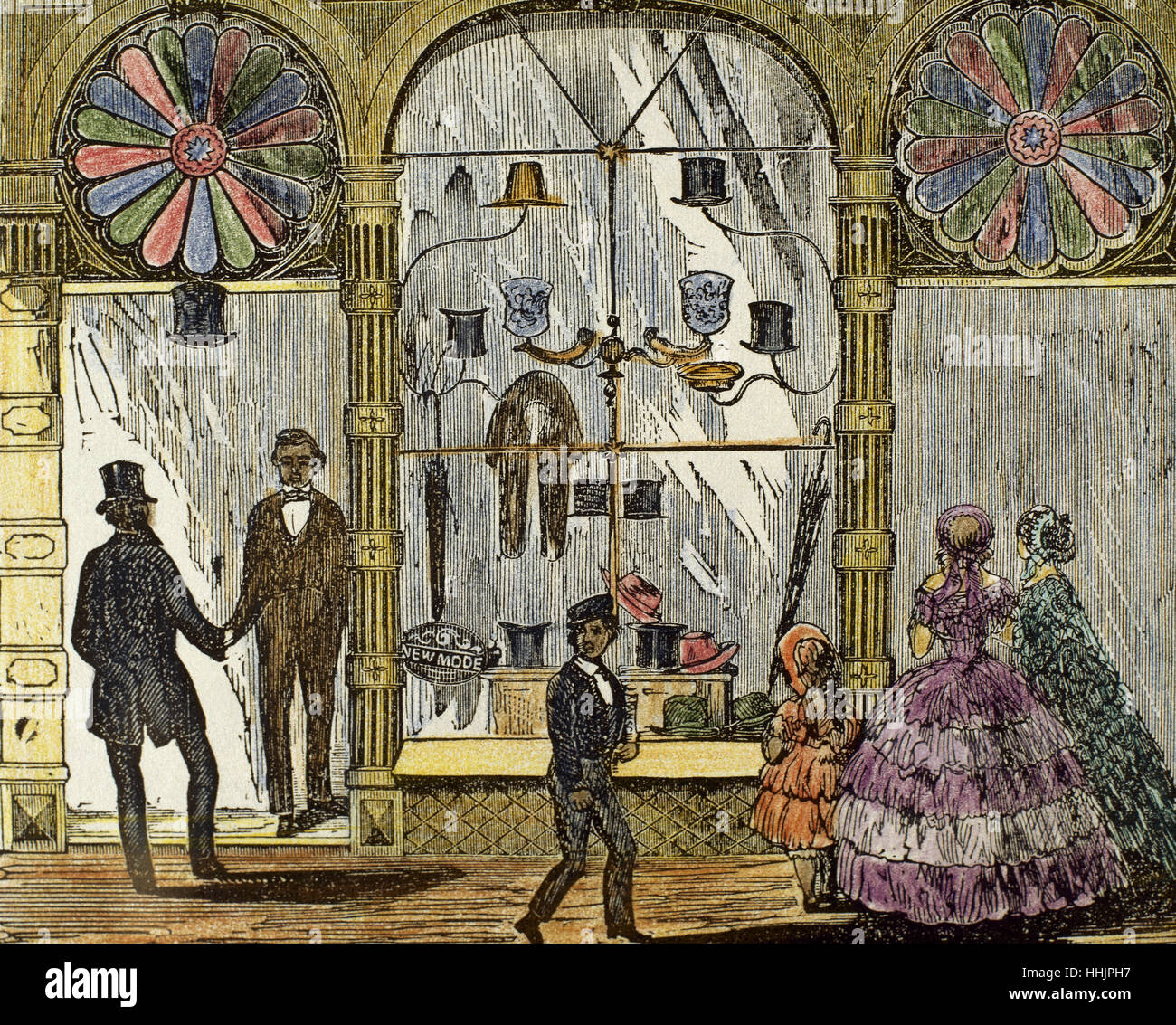 United States. Boston. Accessory shop for women and men in Washington Street. Shop window. Colored engraving, 1832. - Stock Image