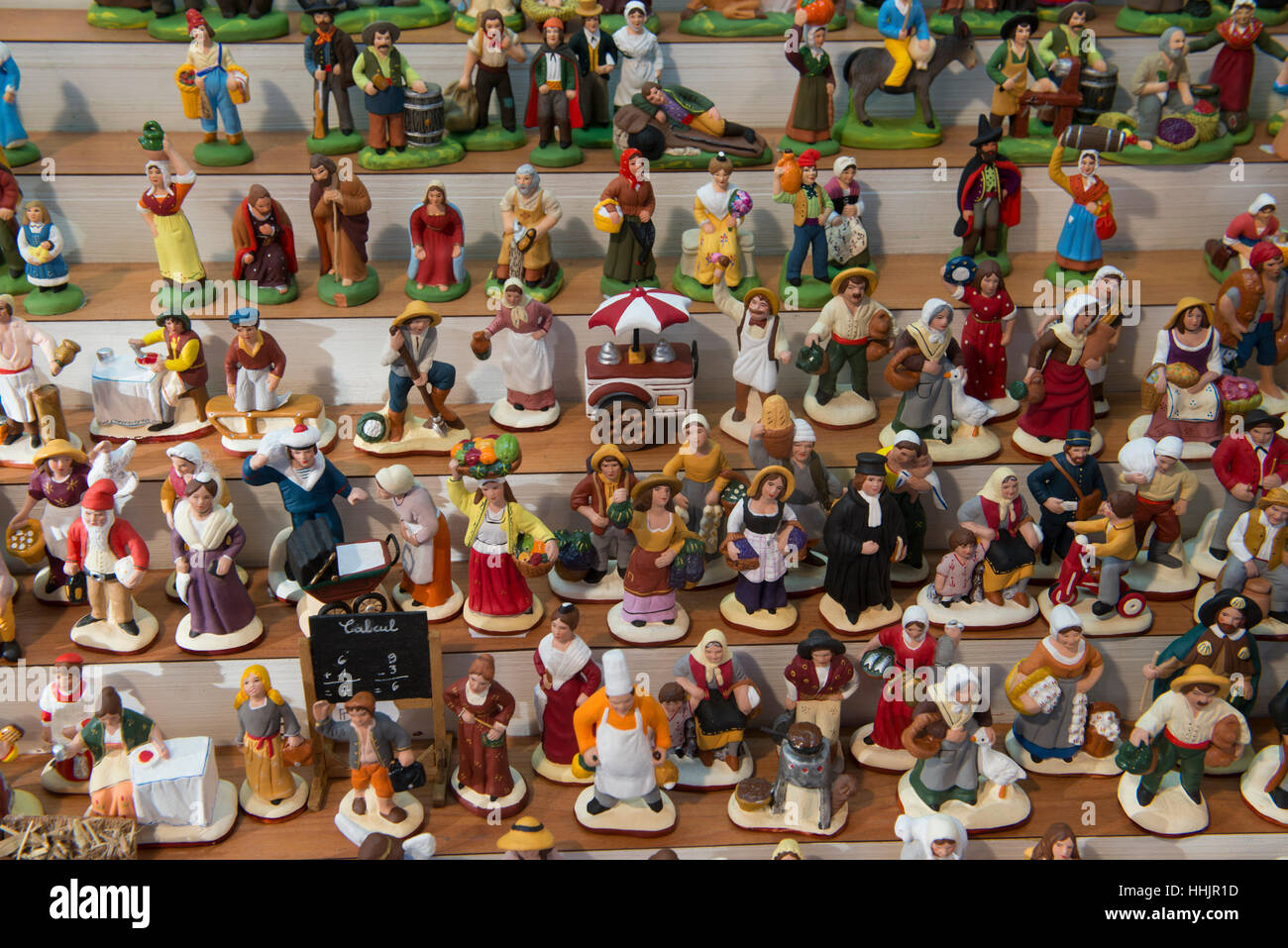 Traditional Swiss porcelain figures, Christmas Market in Montreux, Switzerland - Stock Image